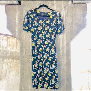 VINTAGE Rainbow Floral Navy Button Up Sheath Dress